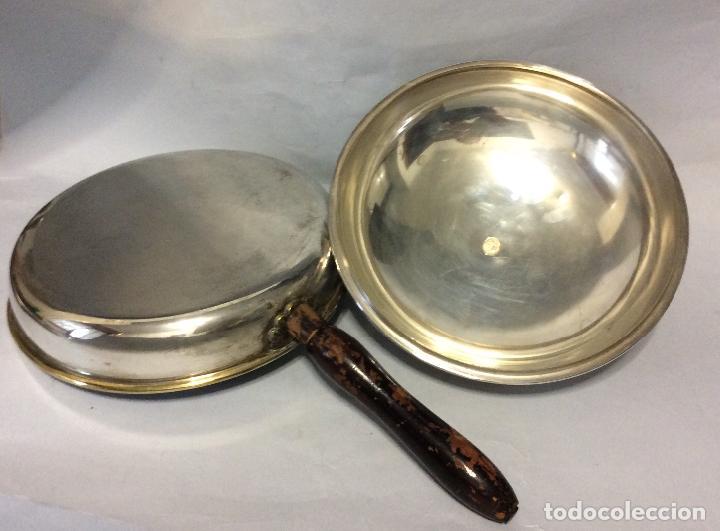 Antigüedades: Antigua fuente para platos calientes en Alpaca Plateada - Foto 2 - 202409440