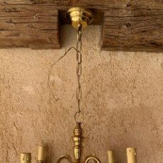 Antigüedades: LAMPARA HOLANDESA ELECTRIFICADA , 4 LUCES , . BIEN CONSERVADA . BRONCE. Lote 202448356