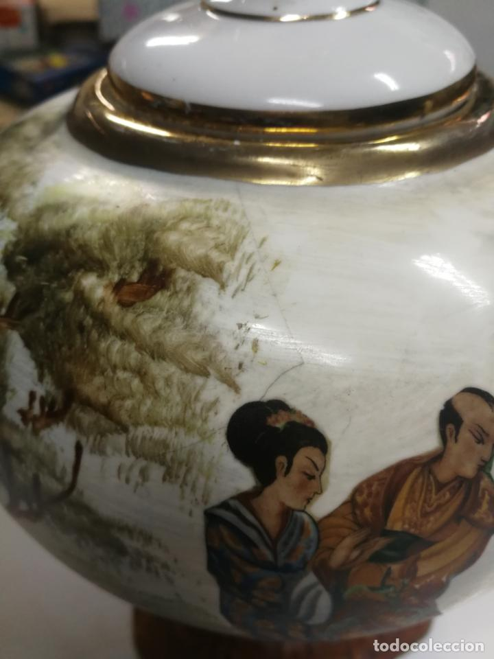 Antigüedades: ANTIGUO JARRON. CELADON. TIBOR CHINO O JAPON. PORCELANA ESMALTADA Y PINTADA A MANO. - Foto 3 - 202474476