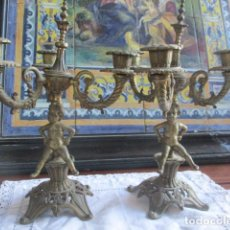 Antigüedades: PAREJA CANDELABROS DE BRONCE. Lote 202487590