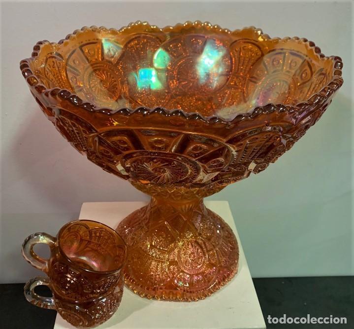 CARNIVAL GLASS. PONCHERA CON TAZAS. (Antigüedades - Cristal y Vidrio - Inglés)