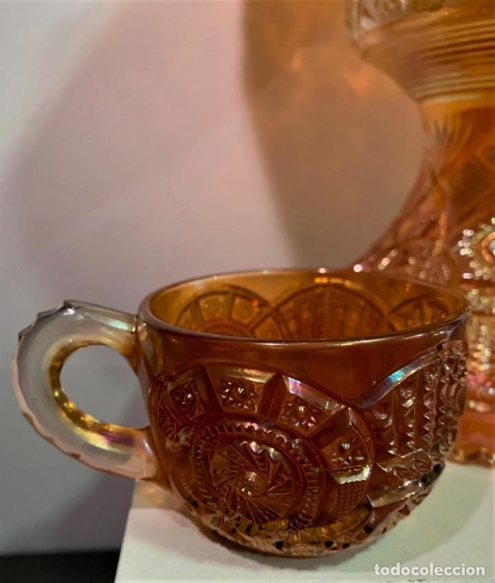 Antigüedades: CARNIVAL GLASS. PONCHERA CON TAZAS. - Foto 3 - 202492307