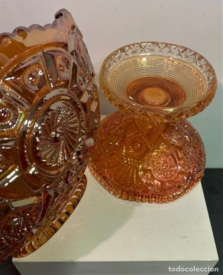 Antigüedades: CARNIVAL GLASS. PONCHERA CON TAZAS. - Foto 4 - 202492307