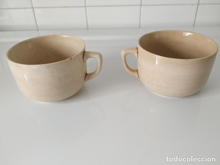 Antigüedades: Pareja de grandes tazas de loza de San Claudio, esmaltadas. Oviedo. - Foto 2 - 202495048