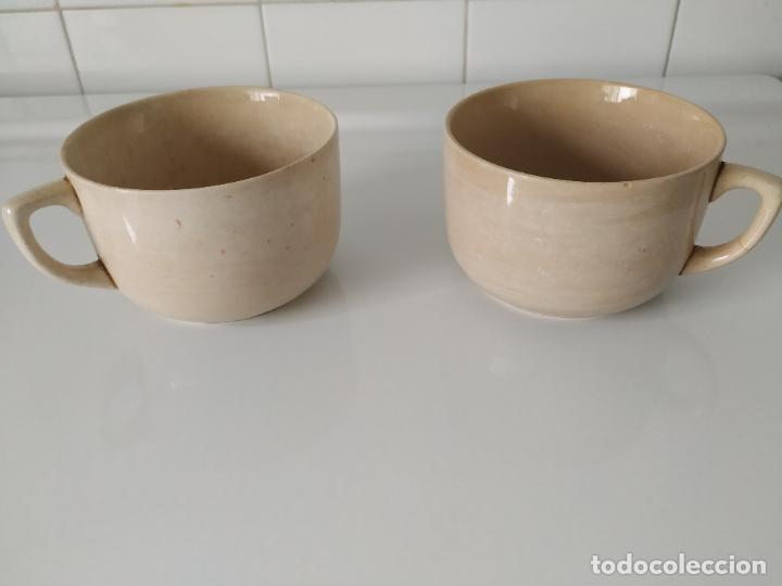 PAREJA DE GRANDES TAZAS DE LOZA DE SAN CLAUDIO, ESMALTADAS. OVIEDO. (Antigüedades - Porcelanas y Cerámicas - San Claudio)