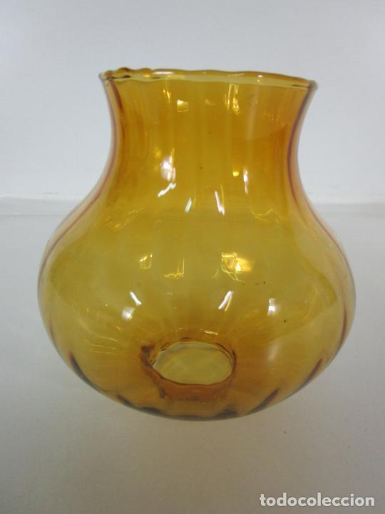 Antigüedades: Tulipas para Lámpara, Quinqué - Cristal Marrón - Principios S. XX - Foto 11 - 202560942