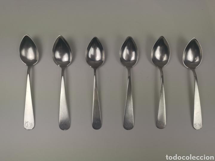 Antigüedades: Juego 6 cucharillas de café de plata con contraste de platero Alonso-Ponce. S. XlX - Foto 5 - 202650582
