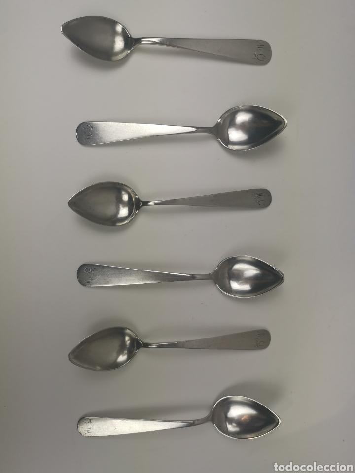 Antigüedades: Juego 6 cucharillas de café de plata con contraste de platero Alonso-Ponce. S. XlX - Foto 2 - 202650582