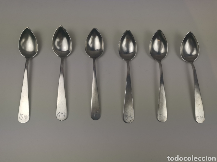 Antigüedades: Juego 6 cucharillas de café de plata con contraste de platero Alonso-Ponce. S. XlX - Foto 3 - 202650582