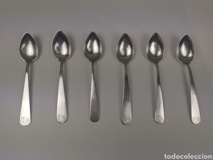Antigüedades: Juego 6 cucharillas de café de plata con contraste de platero Alonso-Ponce. S. XlX - Foto 4 - 202650582