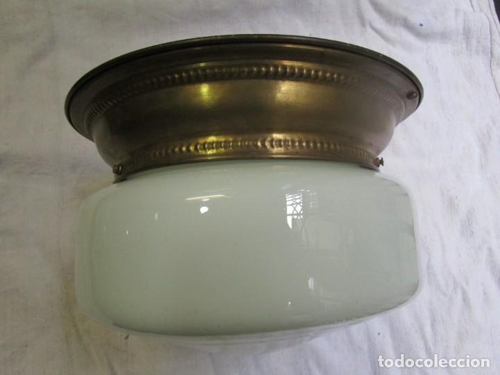 ANTIGUO APLIQUE LAMPARA DE LOS 40'S, OPALINA Y ARILLO LATON, NUEVO CABLEADO Y PORTALAMPARAS + INFO (Antigüedades - Iluminación - Apliques Antiguos)