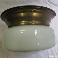 Antigüedades: ANTIGUO APLIQUE LAMPARA DE LOS 40'S, OPALINA Y ARILLO LATON, NUEVO CABLEADO Y PORTALAMPARAS + INFO. Lote 202662588