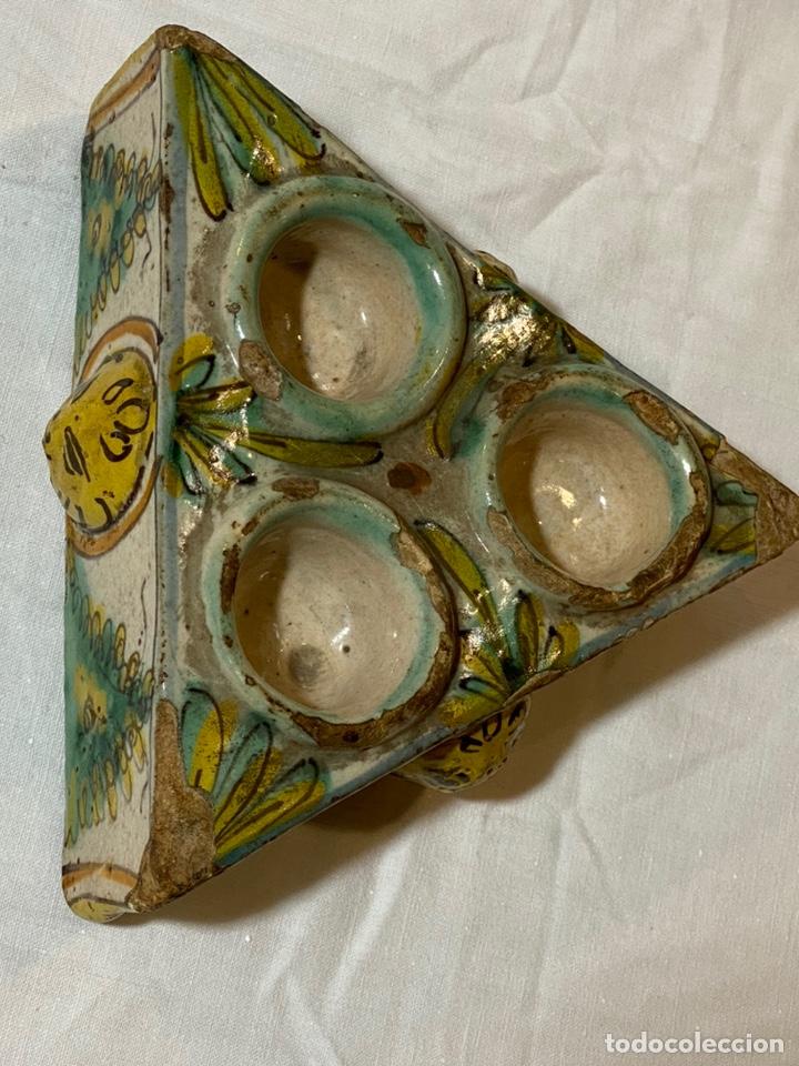Antigüedades: Especiero en cerámica de Puente, serie de los Pinos, s.XVIII - Foto 4 - 202693470