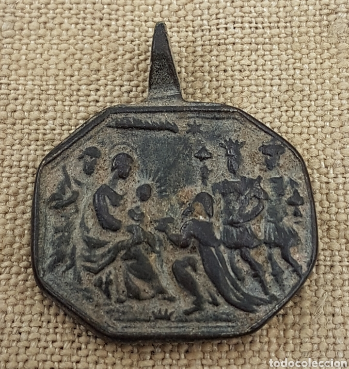 MAGNÍFICA MEDALLA SIGLO XVII REYES MAGOS ADORANDO AL NIÑO Y LEYENDA CON NOMBRES EN LATÍN (Antigüedades - Religiosas - Medallas Antiguas)