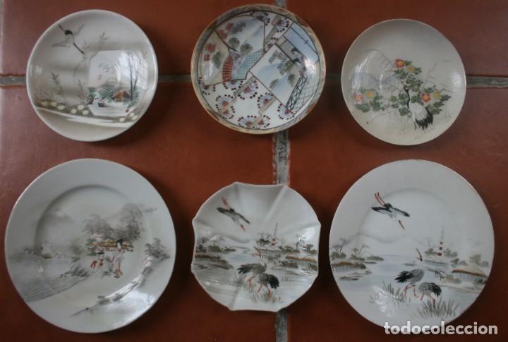 6 PLATOS PORCELANA JAPONESA PINTADOS A MANO – VEASE SELLO FIRMA EN LA BASE (Antigüedades - Porcelana y Cerámica - Japón)