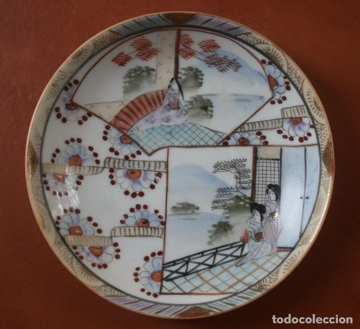 Antigüedades: 6 PLATOS PORCELANA JAPONESA PINTADOS A MANO – VEASE SELLO FIRMA EN LA BASE - Foto 6 - 202768555