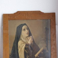 Antigüedades: LITOGRAFÍA SANTA TERESA CON MARCO MODERNISTA. Lote 202874128