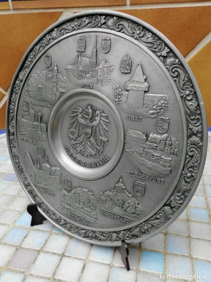 """Antigüedades: PLATO DECORATIVO EN METAL """"OSTERREICH"""" - Foto 2 - 202884315"""
