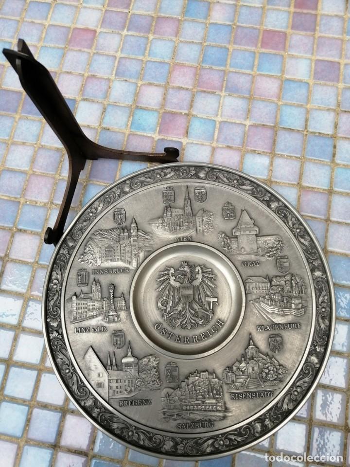"""Antigüedades: PLATO DECORATIVO EN METAL """"OSTERREICH"""" - Foto 5 - 202884315"""