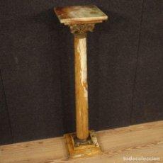 Antigüedades: COLUMNA FRANCESA EN ÓNIX, LATÓN Y BRONCE. Lote 203017056