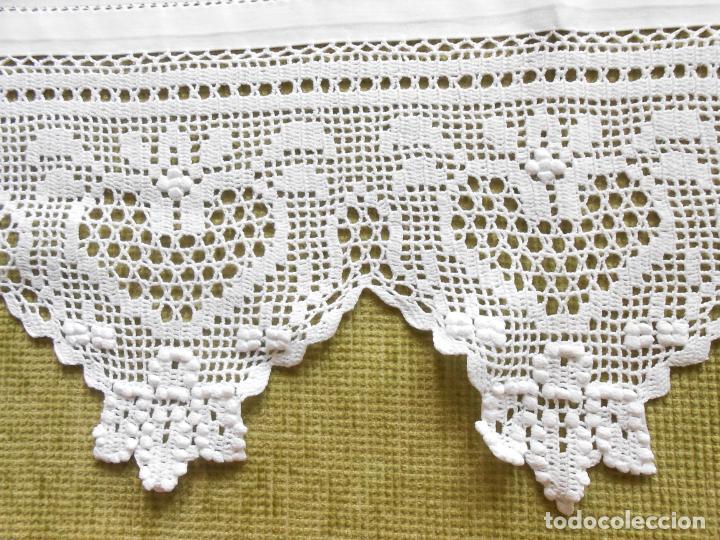 Antigüedades: Magnifico cortina antiqua.Ganchillo a mano. Blanco 50 x 125 cm.Nuevo - Foto 8 - 203049933