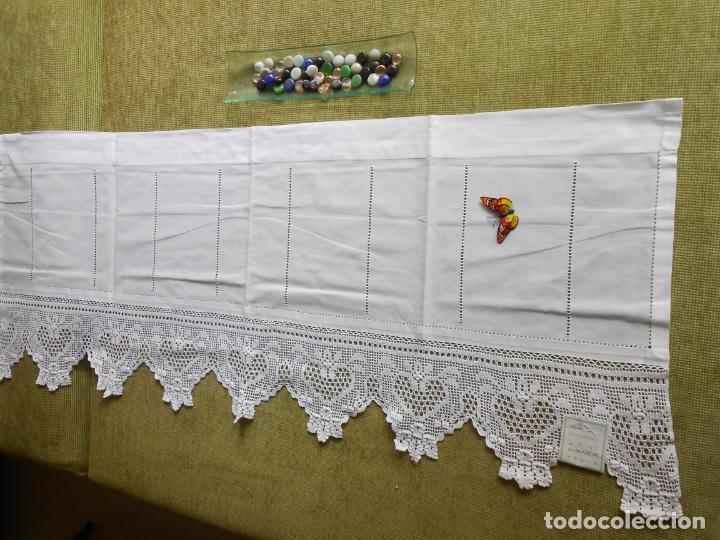 Antigüedades: Magnifico cortina antiqua.Ganchillo a mano. Blanco 50 x 125 cm.Nuevo - Foto 13 - 203049933