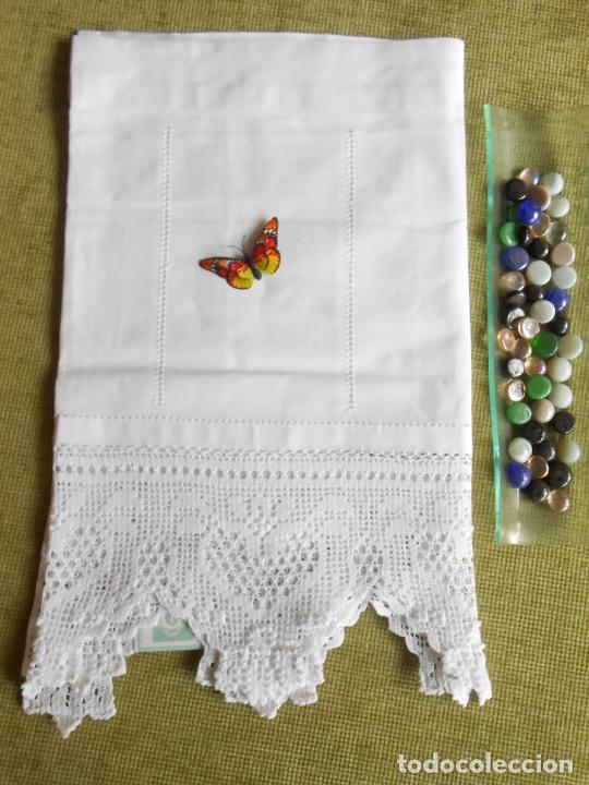 Antigüedades: Magnifico cortina antiqua.Ganchillo a mano. Blanco 50 x 125 cm.Nuevo - Foto 14 - 203049933