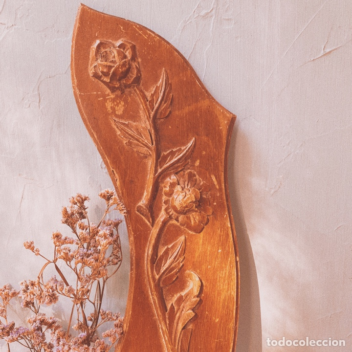 Antigüedades: Preciosa Talla Modernista Floral de Madera ANTIQUE UNIQUE - Foto 2 - 162920085