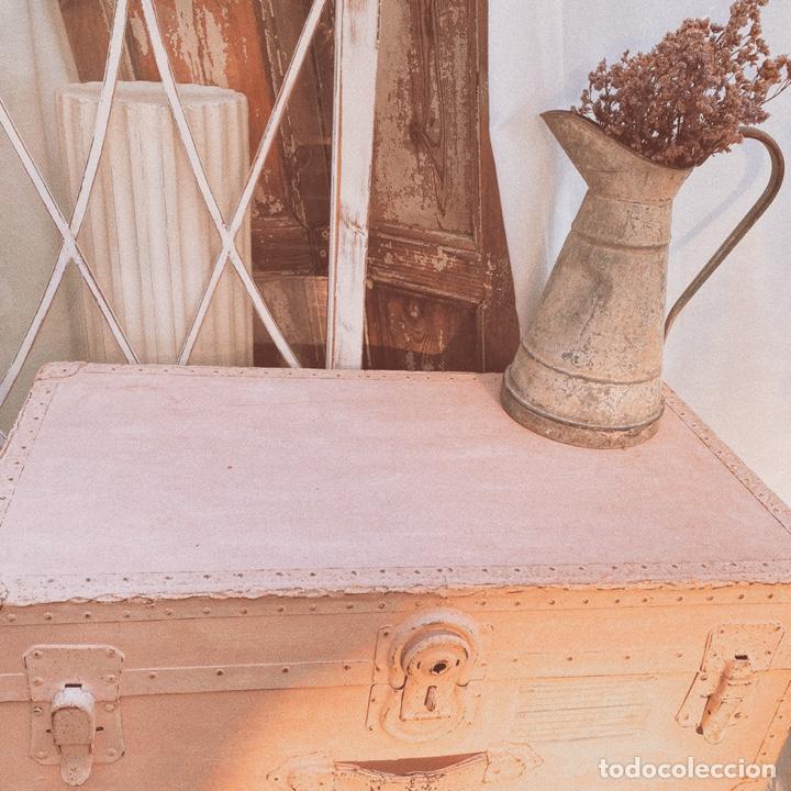 Antigüedades: Gran Bagul Antiguo de Tono Rosado Nude ANTIQUE UNIQUE - Foto 3 - 171240089