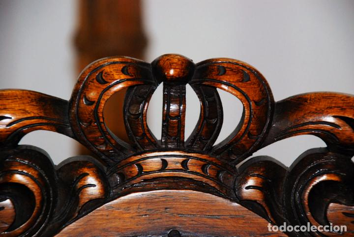 Antigüedades: Extraordinario conjunto de sillón con dos butacas a juego en madera de roble y rejilla de rattán. - Foto 10 - 203097511