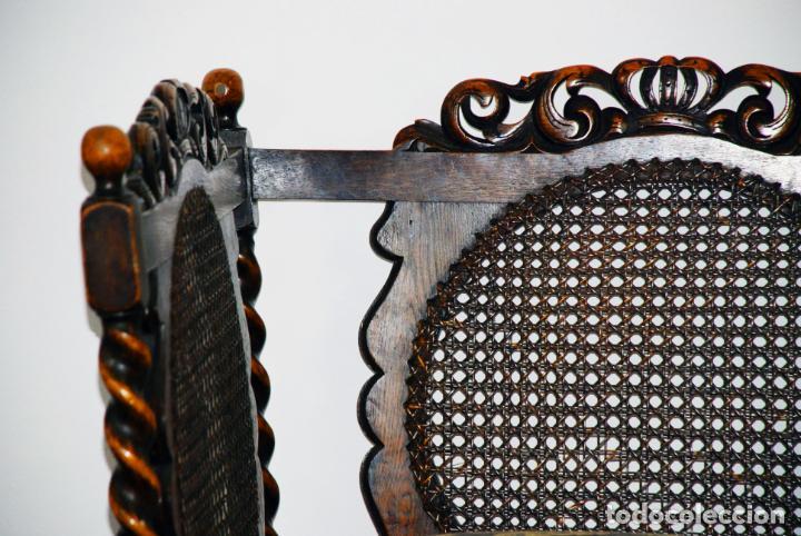 Antigüedades: Extraordinario conjunto de sillón con dos butacas a juego en madera de roble y rejilla de rattán. - Foto 14 - 203097511