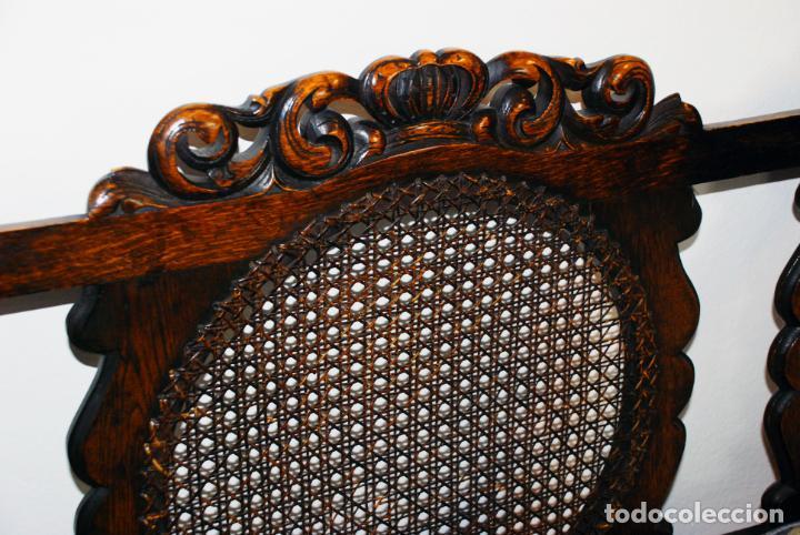Antigüedades: Extraordinario conjunto de sillón con dos butacas a juego en madera de roble y rejilla de rattán. - Foto 15 - 203097511