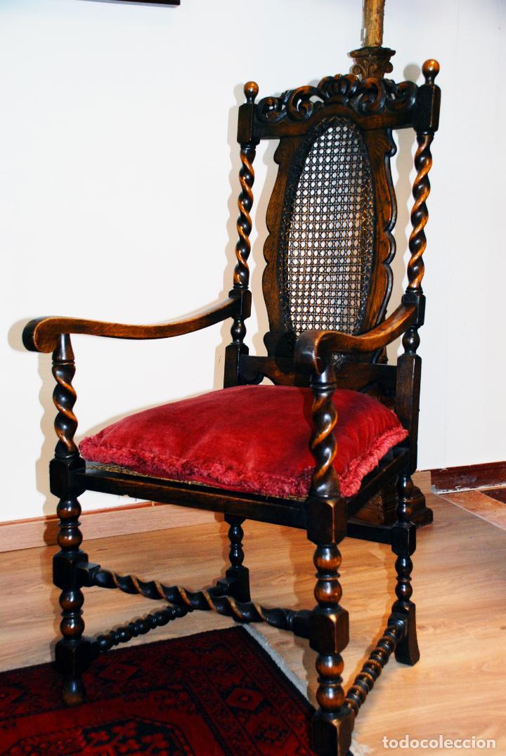 Antigüedades: Extraordinario conjunto de sillón con dos butacas a juego en madera de roble y rejilla de rattán. - Foto 17 - 203097511