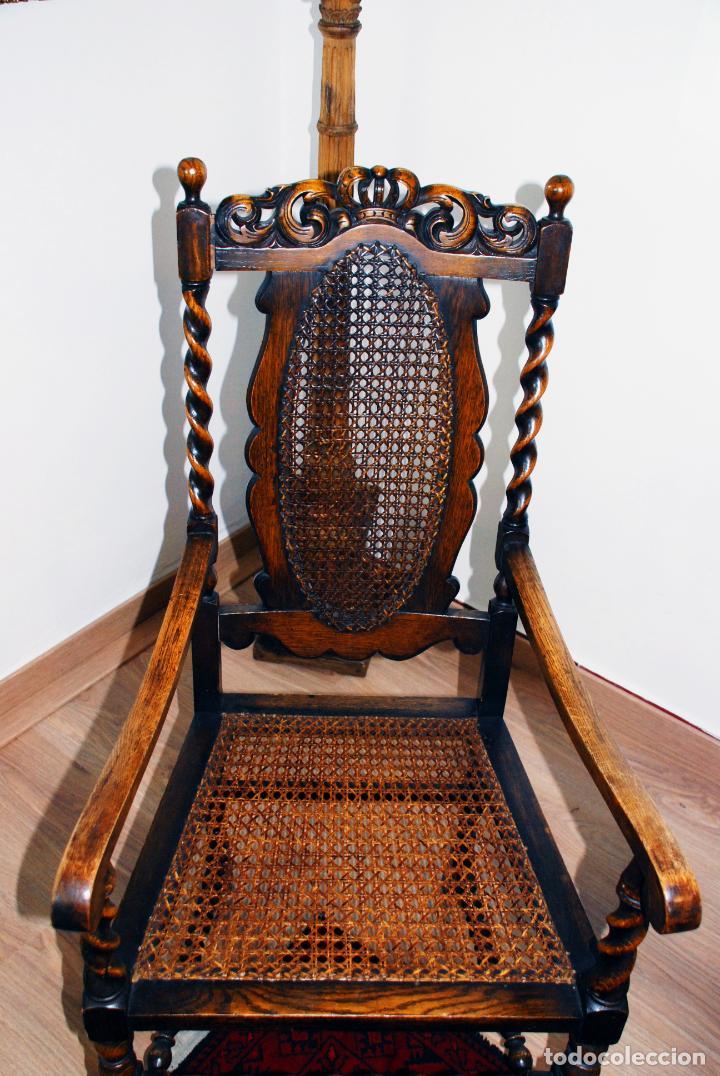 Antigüedades: Extraordinario conjunto de sillón con dos butacas a juego en madera de roble y rejilla de rattán. - Foto 18 - 203097511