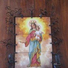 Antigüedades: RETABLO CERAMICO AZULEJOS (MARIA AUXILIADORA) FIRMADO. Lote 203148940