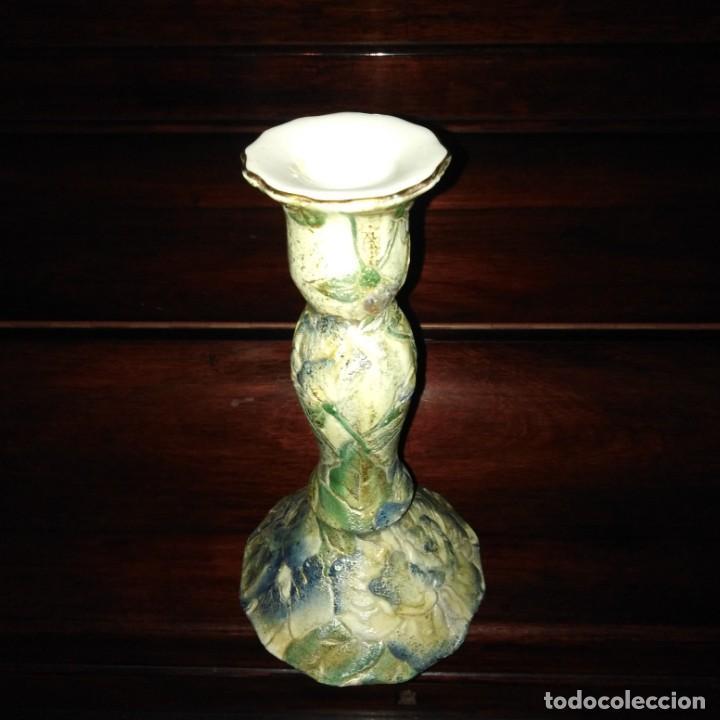 Antigüedades: Antiguo Candelabro Art Nouveau de porcelana japonesa, años 20, sellado - Foto 3 - 203183615
