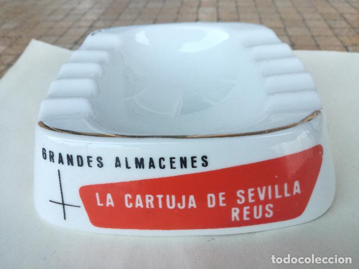 Antigüedades: CENICERO PUBLICITARIO VINTAGE GRANDES ALMACENES LA CARTUJA DE SEVILLA REUS. PORCELANA ROURE - Foto 2 - 203184541