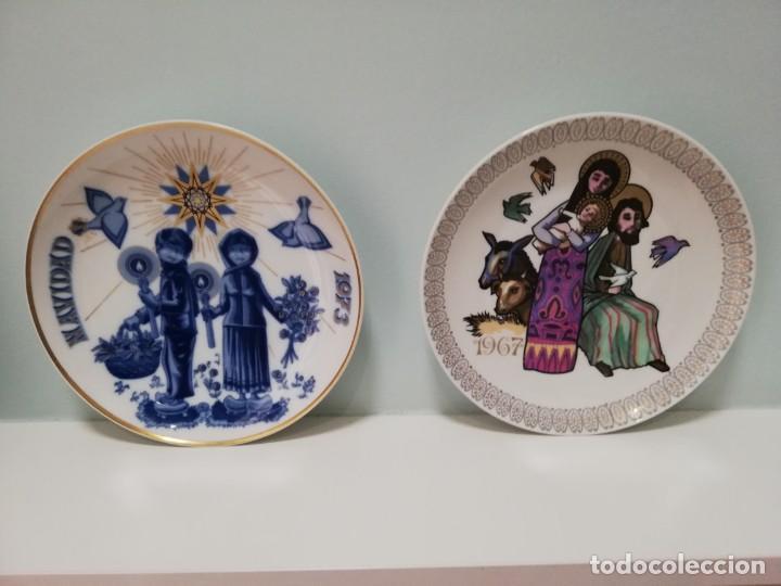 2 PLATOS PORCELANA SANTA CLARA. NAVIDAD 1967 Y 1973. CON SELLO Y DEDICATORIA MOISES ALVAREZ (Antigüedades - Porcelanas y Cerámicas - Santa Clara)