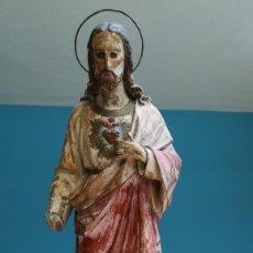 Antigüedades: FIGURA DE SAGRADO CORAZON DE JESUS AÑOS 40-50. Lote 203263028
