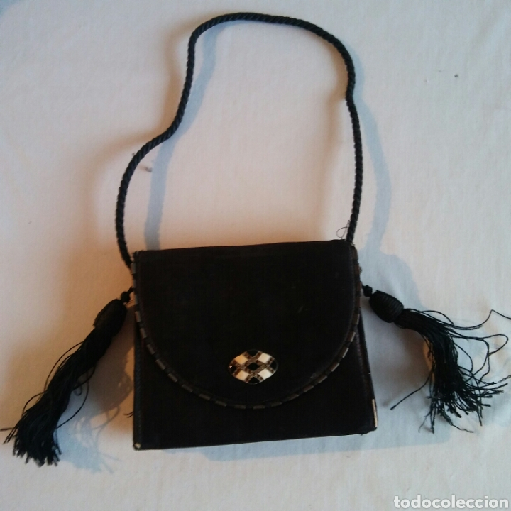 Antigüedades: Bolso Art Decó en seda natural negra - Foto 2 - 203290220