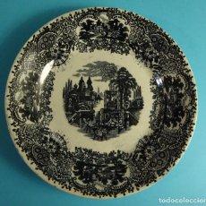 Antigüedades: PLATO DE POSTRE DECORACIÓN TIPO VISTAS. MARCA IMPRESA PICKMAN S.A. CARTUJA. SEVILLA. DIÁMETRO 19 CM. Lote 203291963