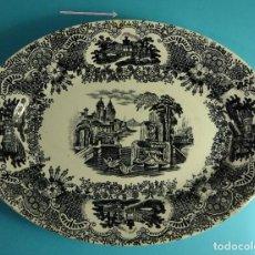 Antigüedades: FUENTE DECORACIÓN TIPO VISTAS. MARCA IMPRESA PICKMAN S.A. CARTUJA. SEVILLA. FORMATO 33 X 24,5 CM. Lote 203294055