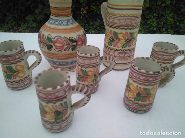 Antigüedades: JUEGO DE BOTELLA, JARRA Y VASO, CERÁMICA ANTIGUA PUENTE DEL ARZOBISPO ------ZXY - Foto 3 - 203303461