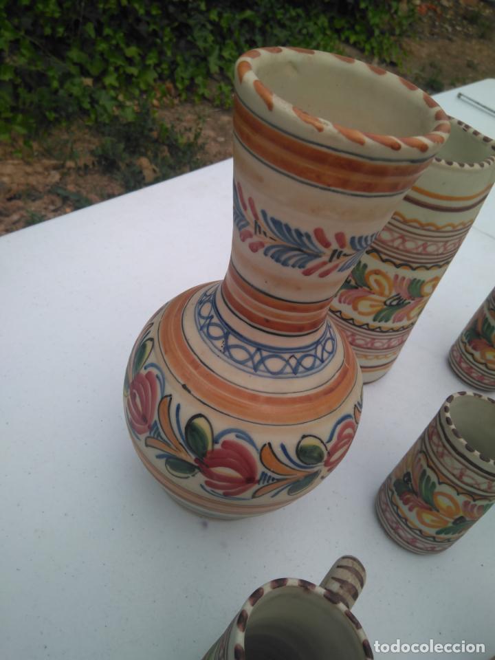 Antigüedades: JUEGO DE BOTELLA, JARRA Y VASO, CERÁMICA ANTIGUA PUENTE DEL ARZOBISPO ------ZXY - Foto 6 - 203303461