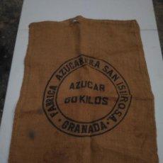 Antigüedades: AZUCARERA SAN ISIDRO (GRANADA) 60 KILOS - ANTIGUO SACO DE ARPILLERA O YUTE - AÑOS 50/60. Lote 203303795