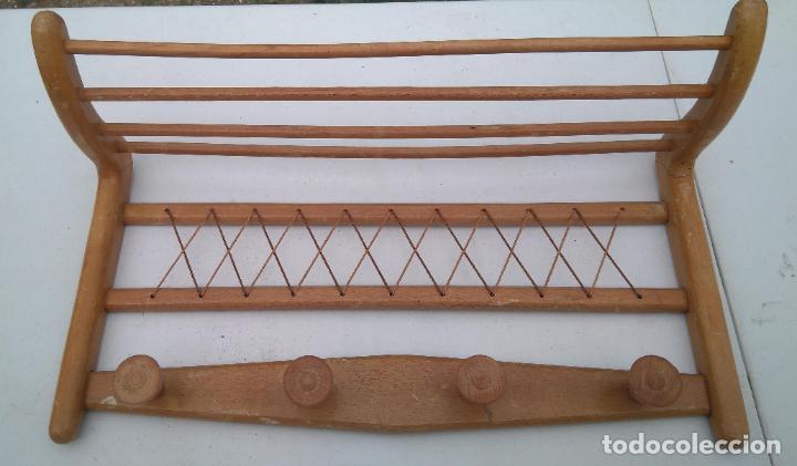 PERCHA Y SOMBRERERO ANTIGUO DE RECIBIDOR - PRECIOSO - 65 X 35 CM APROX. (Antigüedades - Técnicas - Rústicas - Utensilios del Hogar)