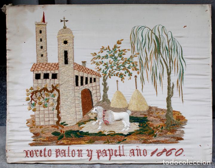 BORDADO ISABELINO SIGLO XIX, FECHADO 1860, ESCENA CON ANIMAL E IGLESIA. 52X40CM (Antigüedades - Moda - Bordados)
