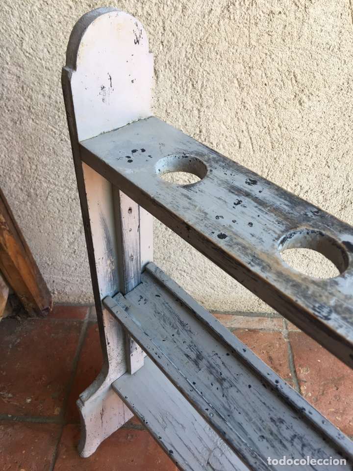 Antigüedades: Pareja de hacheros antiguos s. XIX de madera - Portacirios de iglesia - Portavelas - Vela, cirio - Foto 4 - 203334011