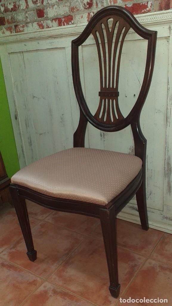 Antigüedades: SILLA ESTILO CHIPPENDALE DE CAOBA - Foto 3 - 203366880