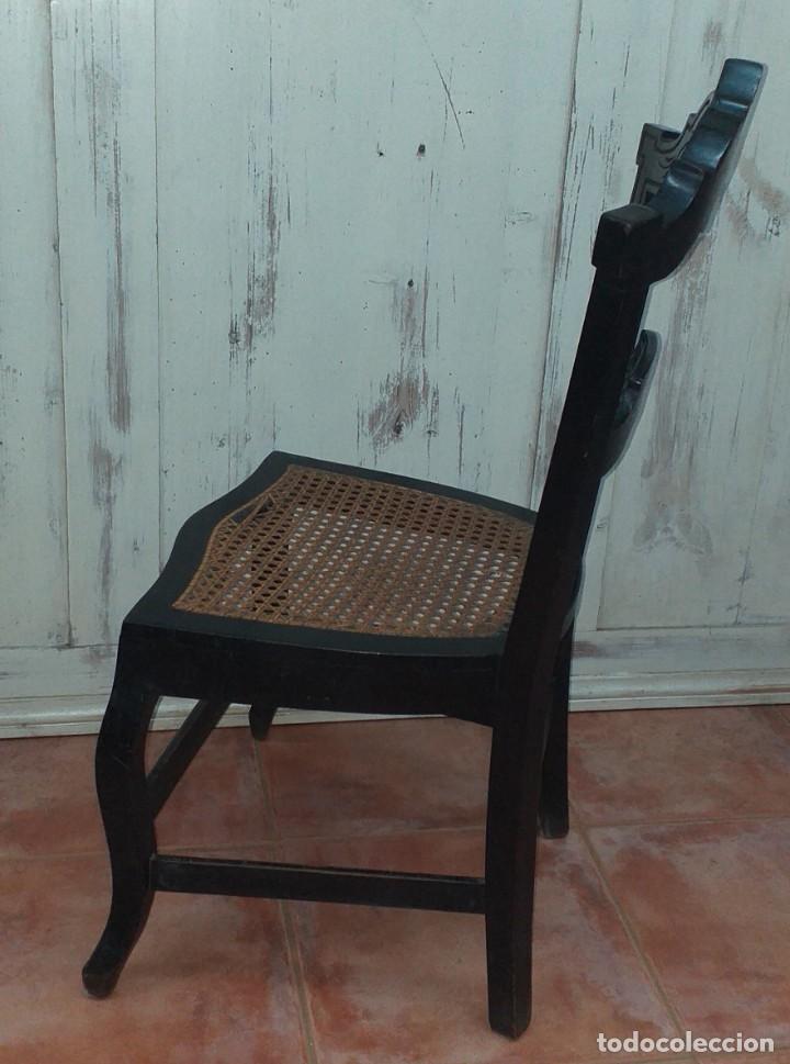Antigüedades: SILLA DE COSTURERA ALFONSINA DE CAOBA - Foto 10 - 203370305